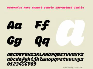 Recursive Mn Csl St XBk Italic Version 1.077;hotconv 1.0.112;makeotfexe 2.5.65598; ttfautohint (v1.8.3)图片样张