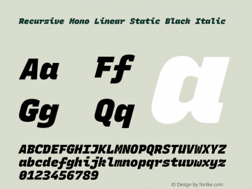 Recursive Mn Lnr St Blk Italic Version 1.077;hotconv 1.0.112;makeotfexe 2.5.65598; ttfautohint (v1.8.3)图片样张