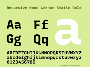 Recursive Mn Lnr St Bold Version 1.077;hotconv 1.0.112;makeotfexe 2.5.65598; ttfautohint (v1.8.3)图片样张