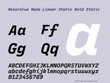 Recursive Mn Lnr St Bold Italic Version 1.077;hotconv 1.0.112;makeotfexe 2.5.65598图片样张