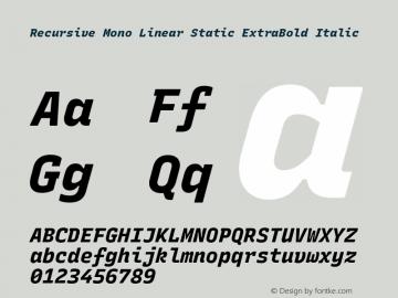 Recursive Mn Lnr St XBd Italic Version 1.077;hotconv 1.0.112;makeotfexe 2.5.65598图片样张