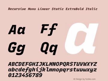 Recursive Mn Lnr St XBd Italic Version 1.077;hotconv 1.0.112;makeotfexe 2.5.65598; ttfautohint (v1.8.3)图片样张