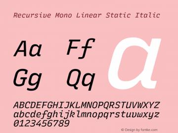 Recursive Mn Lnr St Italic Version 1.077;hotconv 1.0.112;makeotfexe 2.5.65598图片样张