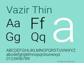 Vazir Thin Version 28.0.0图片样张