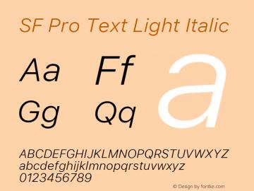 SF Pro Text Light Italic Version 03.0d8e1 (Sys-15.0d4e20m7)图片样张