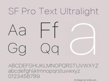 SF Pro Text Ultralight Version 03.0d8e1 (Sys-15.0d4e20m7) Font Sample
