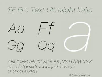 SF Pro Text Ultralight Italic Version 03.0d8e1 (Sys-15.0d4e20m7)图片样张