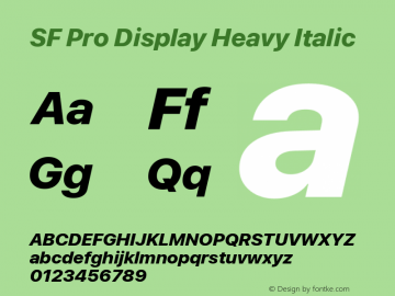 SF Pro Display Heavy Italic Version 03.0d8e1 (Sys-15.0d4e20m7) Font Sample