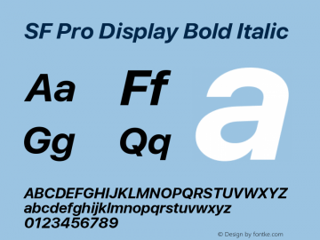 SF Pro Display Bold Italic Version 03.0d8e1 (Sys-15.0d4e20m7)图片样张