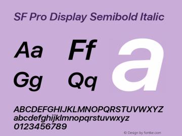 SF Pro Display Semibold Italic Version 03.0d8e1 (Sys-15.0d4e20m7) Font Sample