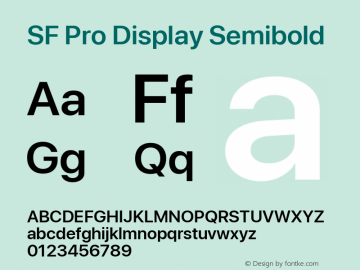 SF Pro Display Semibold Version 03.0d8e1 (Sys-15.0d4e20m7)图片样张