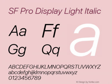 SF Pro Display Light Italic Version 03.0d8e1 (Sys-15.0d4e20m7)图片样张