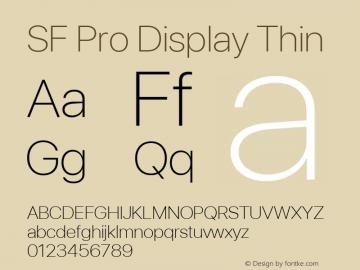 SF Pro Display Thin Version 03.0d8e1 (Sys-15.0d4e20m7)图片样张