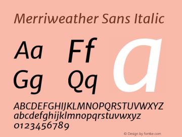 Merriweather Sans Italic Version 1.006; ttfautohint (v1.4.1) -l 6 -r 50 -G 0 -x 11 -H 220 -D latn -f none -w