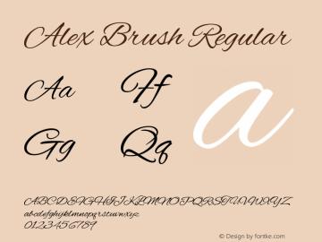 Alex Brush Regular Version 1.003 Font Sample