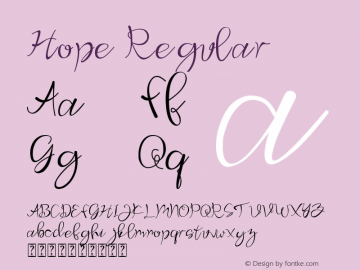 Hope Version 1.00;June 12, 2020;FontCreator 12.0.0.2565 32-bit图片样张