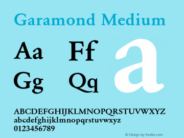 Garamond Medium 001.000 Font Sample