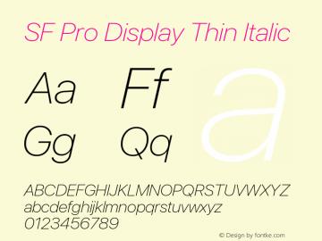 SF Pro Display Thin Italic Version 16.0d18e1图片样张
