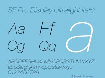 SF Pro Display Ultralight Italic Version 16.0d18e1图片样张