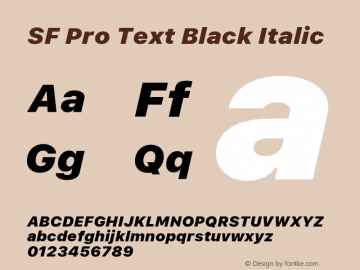 SF Pro Text Black Italic Version 16.0d18e1图片样张