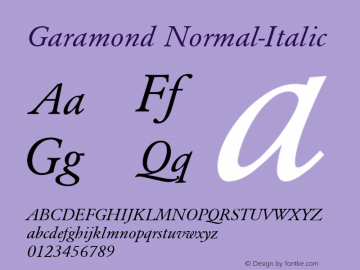 Garamond Normal-Italic 001.000 Font Sample