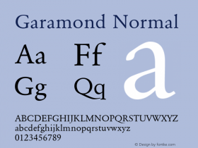 Garamond Normal 001.000 Font Sample