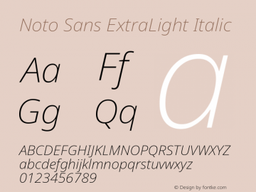 Noto Sans ExtraLight Italic Version 2.003图片样张