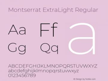 Montserrat ExtraLight Version 7.200 Font Sample