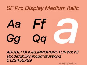SF Pro Display Medium Italic Version 13.0d3e20图片样张
