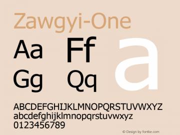 Zawgyi-One 3.1 Februay 10, 2008 Font Sample