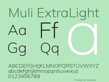 Muli ExtraLight Version 2.000 Font Sample