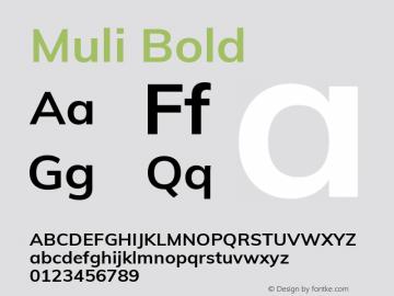 Muli Bold Version 2.000 Font Sample