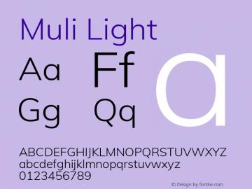 Muli Light Version 2.000 Font Sample