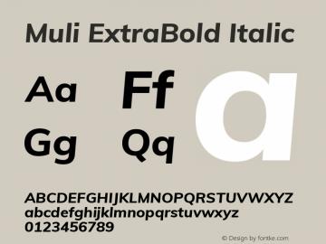 Muli ExtraBold Italic Version 2.000 Font Sample
