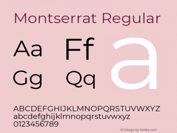Montserrat Regular Version 7.200 Font Sample