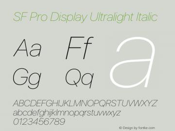 SFProDisplay-UltralightItalic Version 14.0d2e0图片样张