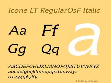 Icone LT RegularOsF Italic Version 1.0图片样张