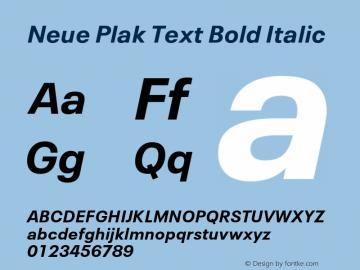 Neue Plak Text Bold Italic 1.00, build 10, s3图片样张
