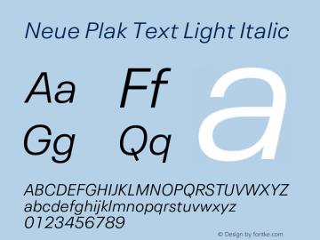 Neue Plak Text Light Italic 1.00, build 11, s3图片样张
