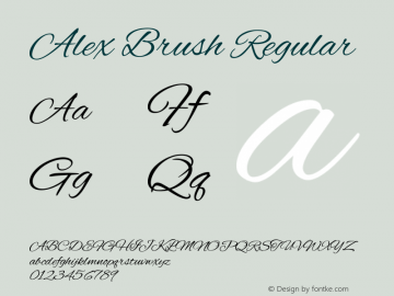 Alex Brush Regular Version 1.101图片样张