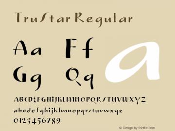 TruStar Regular Version 1.000;PS 001.000;hotconv 1.0.38 Font Sample