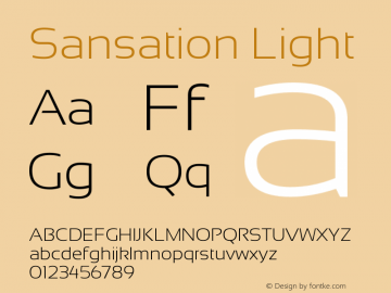 Sansation Light Version 1.2 Font Sample