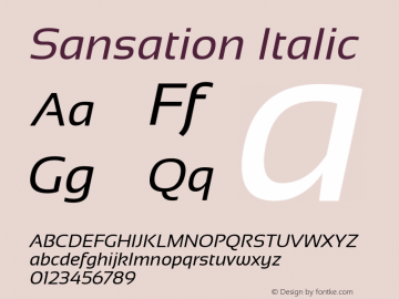 Sansation Italic Version 1.301 Font Sample