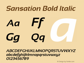Sansation Bold Italic Version 1.31 Font Sample