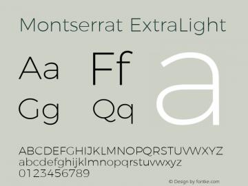 Montserrat ExtraLight Version 4.000图片样张