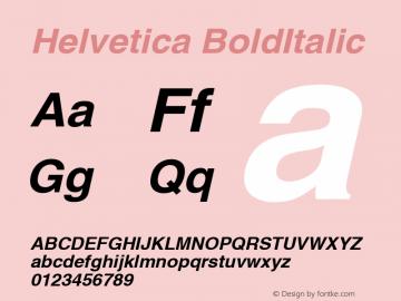 Helvetica BoldItalic Version 1.00 Font Sample