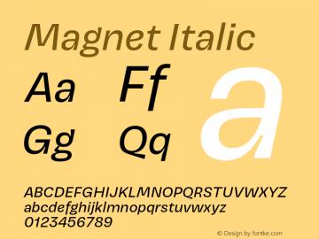 Magnet-Italic Version 1.001;PS 1.000;hotconv 16.6.51;makeotf.lib2.5.65220图片样张