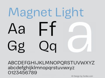 Magnet-Light Version 1.001;PS 1.000;hotconv 16.6.51;makeotf.lib2.5.65220图片样张