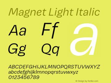 Magnet-LightItalic Version 1.001;PS 1.000;hotconv 16.6.51;makeotf.lib2.5.65220图片样张