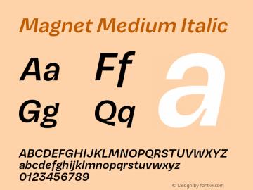 Magnet-MediumItalic Version 1.001;PS 1.000;hotconv 16.6.51;makeotf.lib2.5.65220图片样张